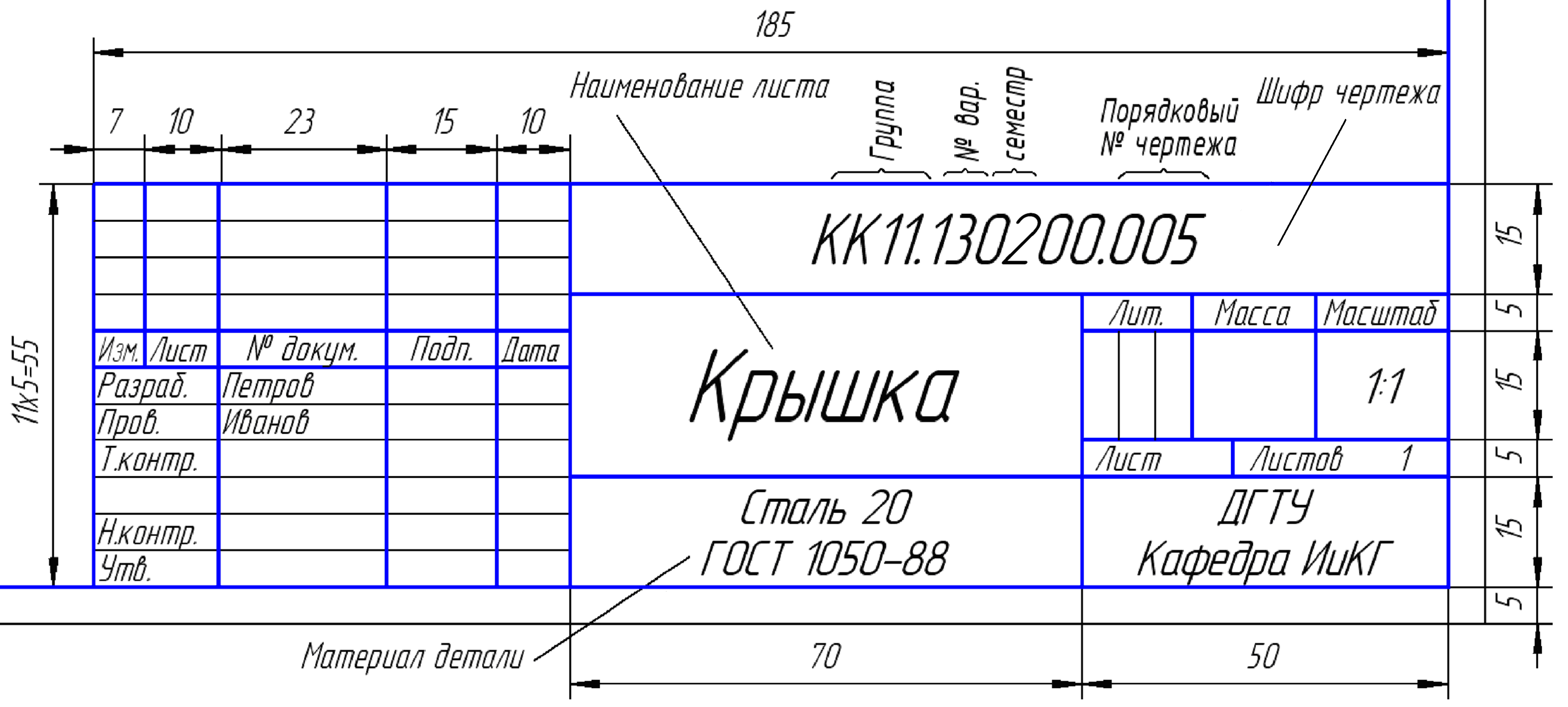 Пример оформления основной надписи