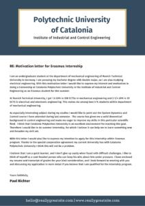 Мотивационное письмо на английском для прохождения стажировки
