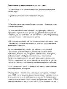 Примеры контрольных заданий по русскому языку