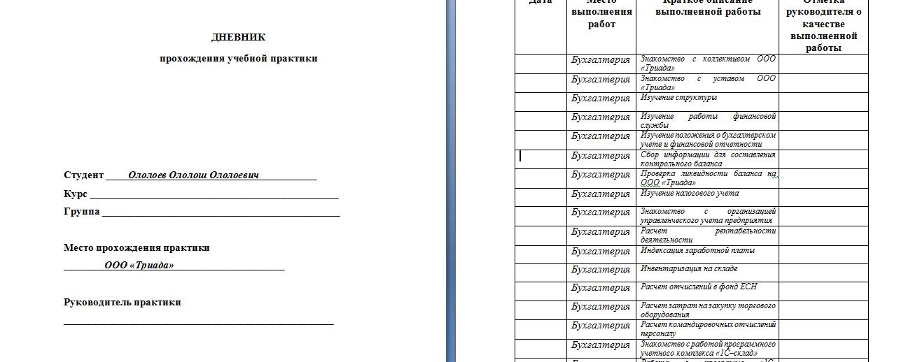 Как написать отчет по практике примеры и правила Дневник практики пример